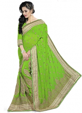 Sophisticated Patch Border Work Wedding Saree