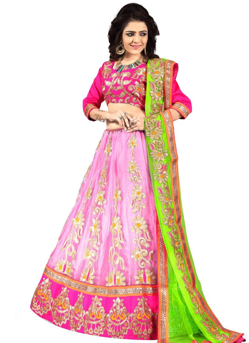 Sophisticated Pink Color Net Designer Lehenga Choli
