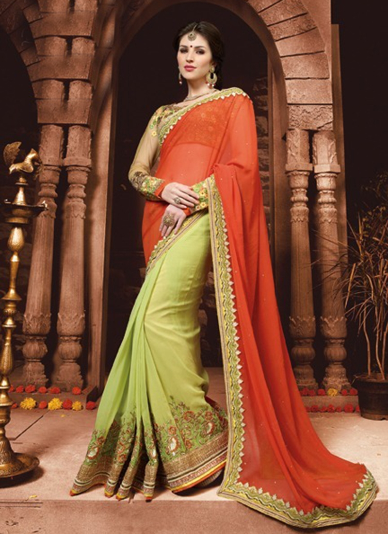 Sophisticated Pure Georgette Half N Half Wedding Saree