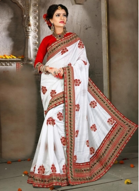 Sophisticated  Red and White Booti Work Trendy Designer Saree