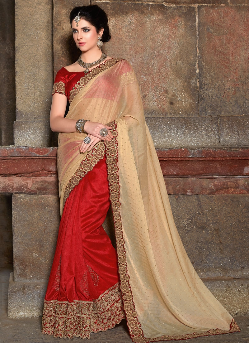 Sophisticated Red Color Art Silk Half N Half Wedding Saree