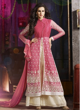 Sophisticated Resham Work Palazzo Style Designer Salwar Suit