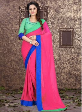 Sophisticated Rose Pink Color Lace Work Casual Saree