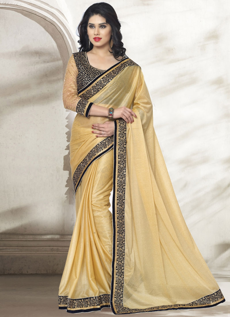 Sophisticated Sequins Work Lycra Party Wear Saree
