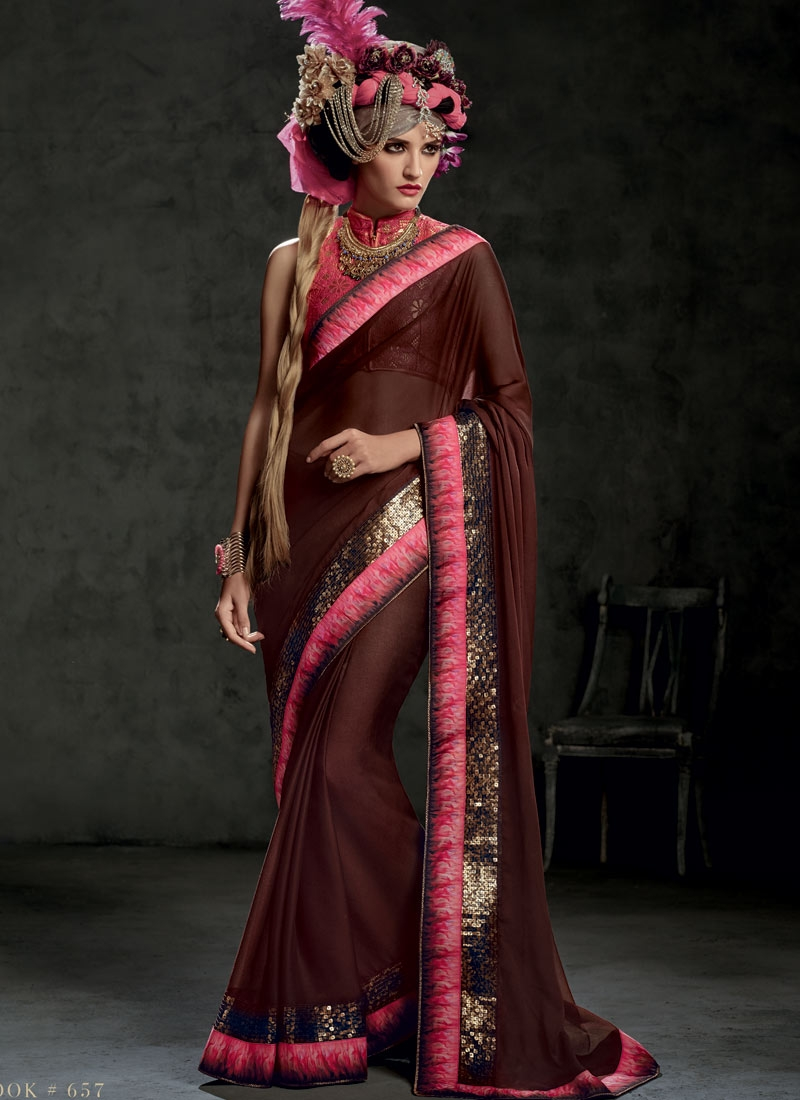 Sophisticated Sequins Work Party Wear Saree