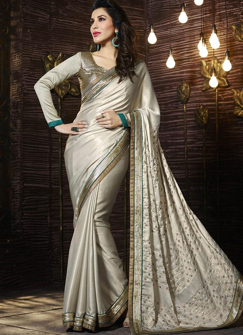 Sophisticated Sequins Work Silver Color Designer Saree