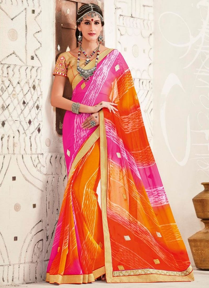 Sophisticated Stone And Lace Work Party Wear Saree