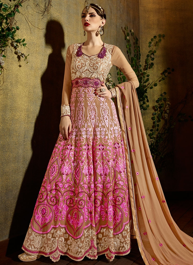 Sophisticated Stone Work Long Length Wedding Salwar Kameez