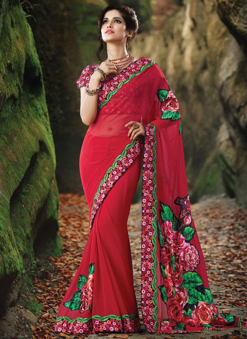 Sophisticated Stone Work Red Color Designer Saree