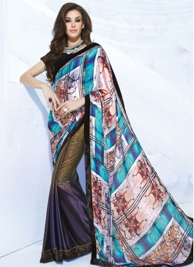 Sophisticated Stone Work Silk Georgette Half N Half Party Wear Saree