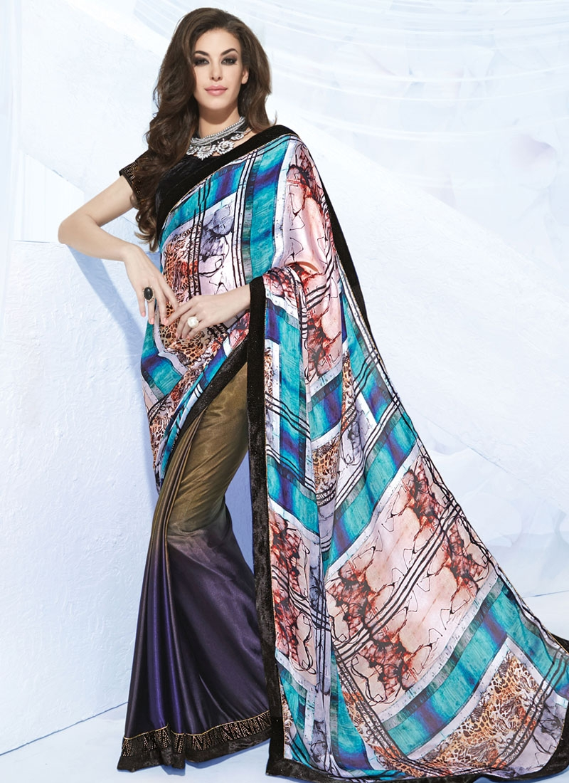 Sophisticated Stone Work Silk Georgette Half N Half Party Wear Saree