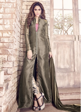 Sorcerous  Art Silk Beige and Grey Pant Style Designer Suit