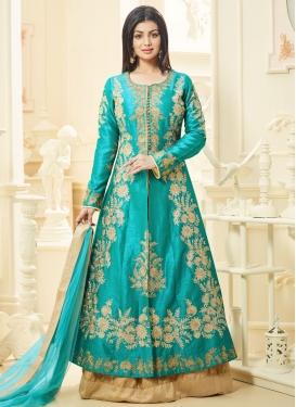 Sorcerous Ayesha Takia Beige and Turquoise Art Silk Kameez Style Lehenga