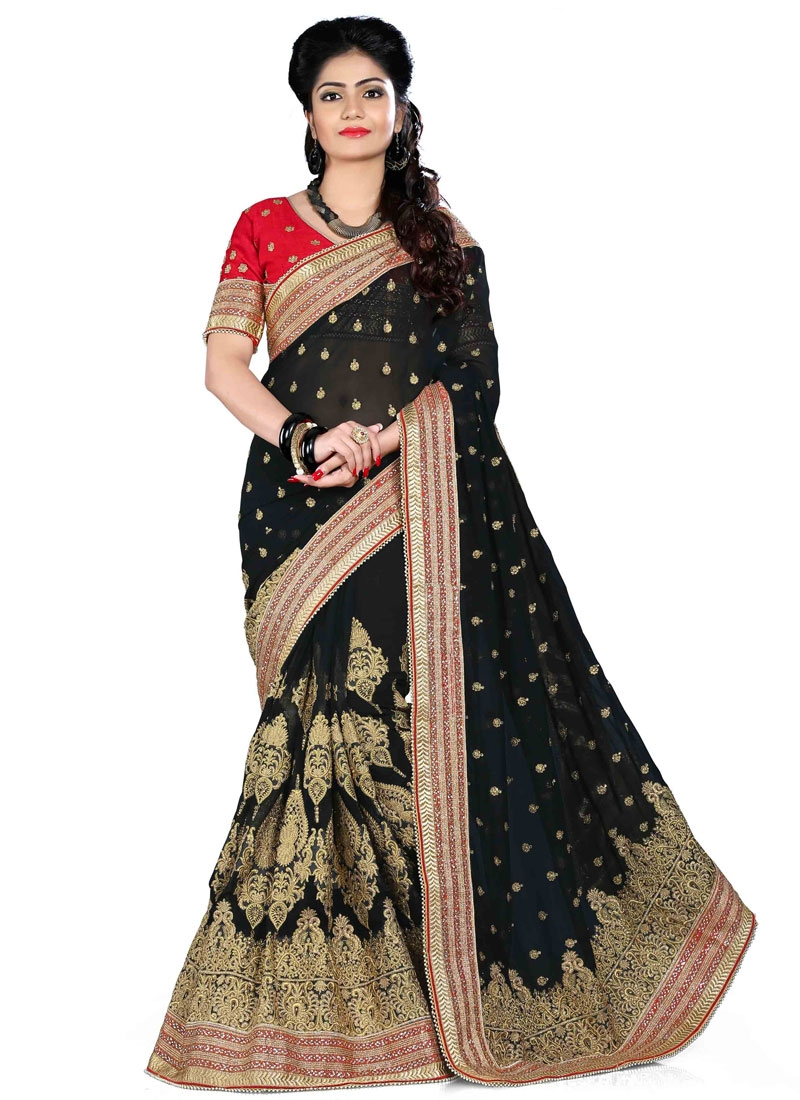 Sorcerous Black Color Resham Work Georgette Designer Saree