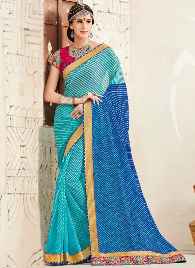 Sorcerous Blue Color Bandhej Print Work Party wear Saree