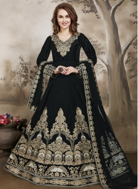Sorcerous Booti Work Tafeta Silk Long Length Anarkali Salwar Suit
