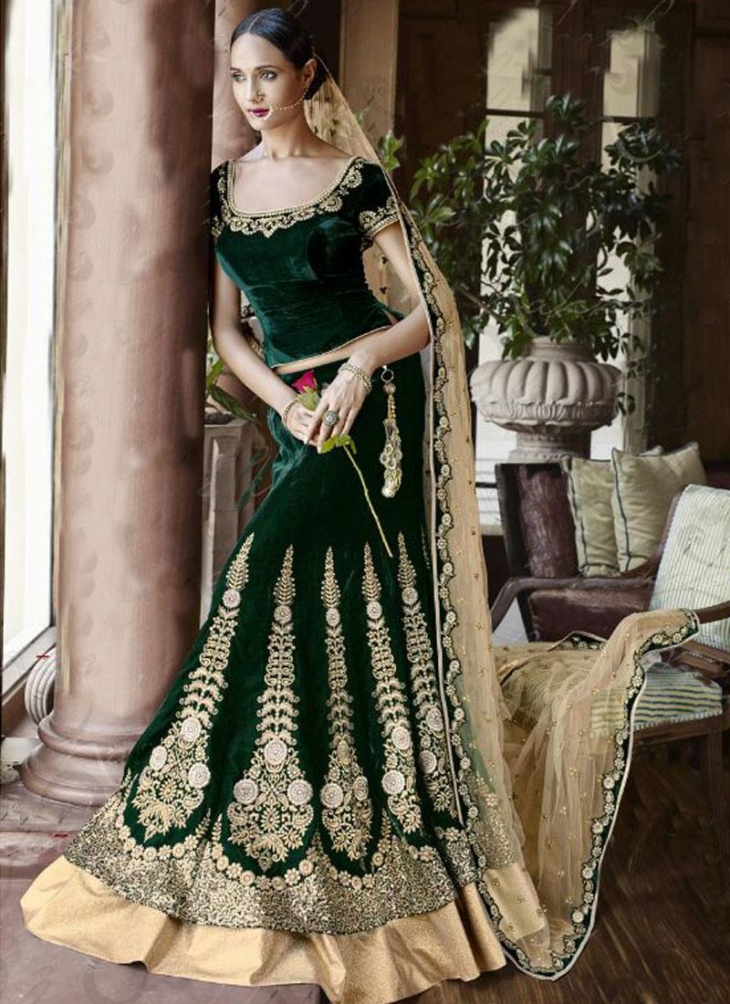 fb7f989bf3 Buy Sorcerous Bottle Green Color Velvet Bridal Lehenga Choli Online