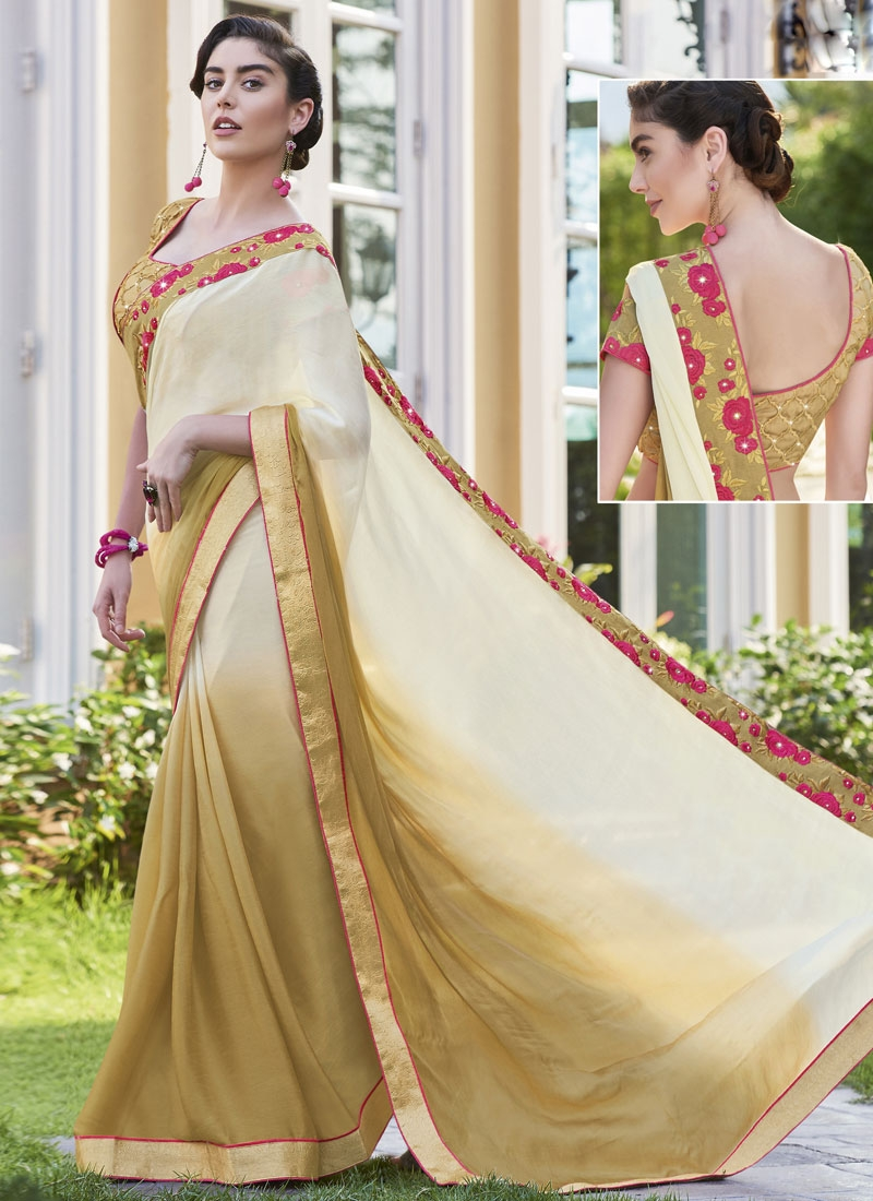 Sorcerous Brown And Cream Color Party Wear Saree