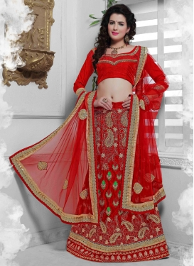 Sorcerous Crimson Color Lace Work Bridal Lehenga Choli