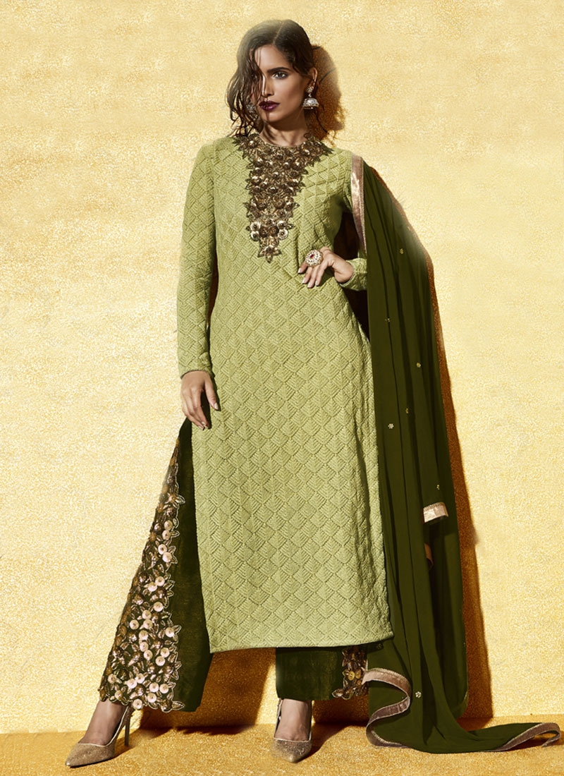 Sorcerous Cutdana And Sequins Work Palazzo Style Designer Suit