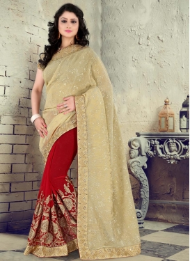 Sorcerous Embroidered Work Faux Georgette Half N Half Trendy Saree