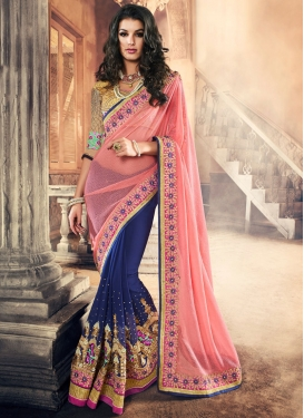 Sorcerous Embroidered Work Half N Half Designer Saree