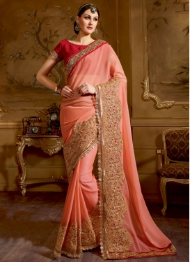 Sorcerous Embroidery And Stone Work Wedding Saree