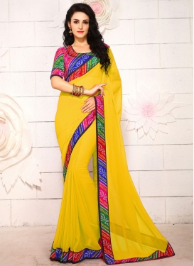 Sorcerous Faux Georgette Lace Work Casual Saree