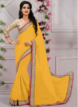 Sorcerous Faux Georgette Resham Work Casual Saree