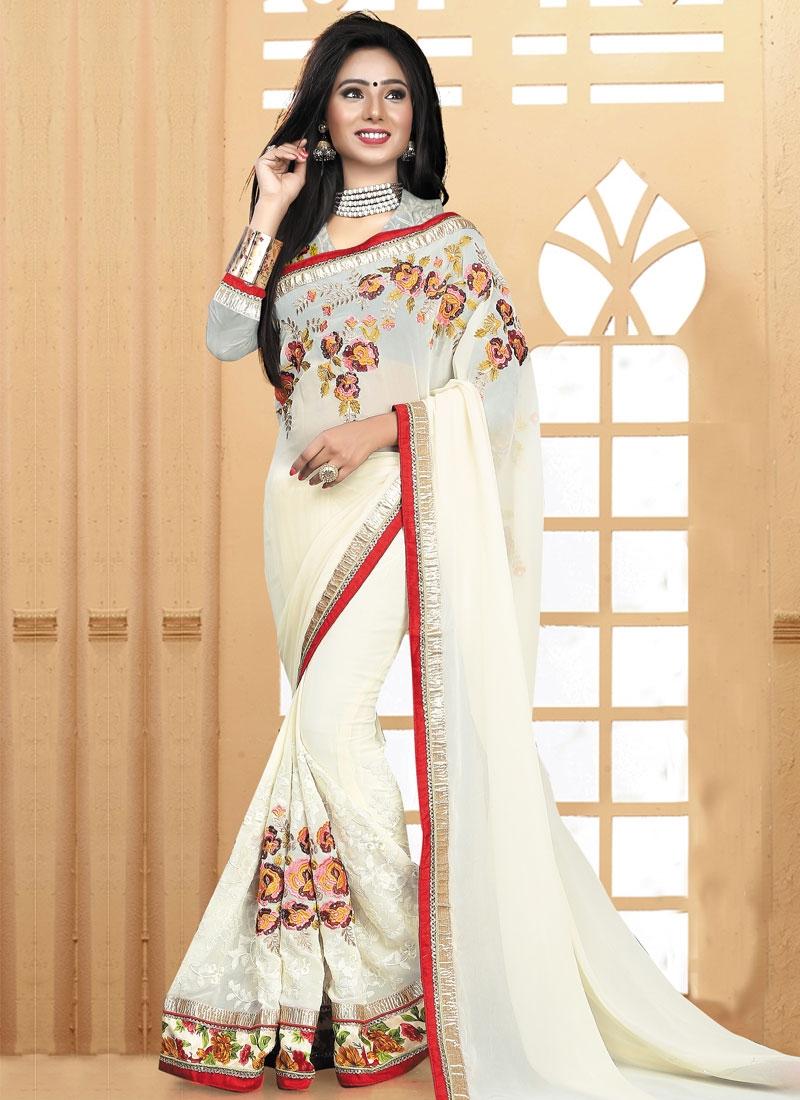 Sorcerous Floral Work Off White Color Designer Saree