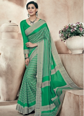 Sorcerous Green Color Printed Party Wear Saree
