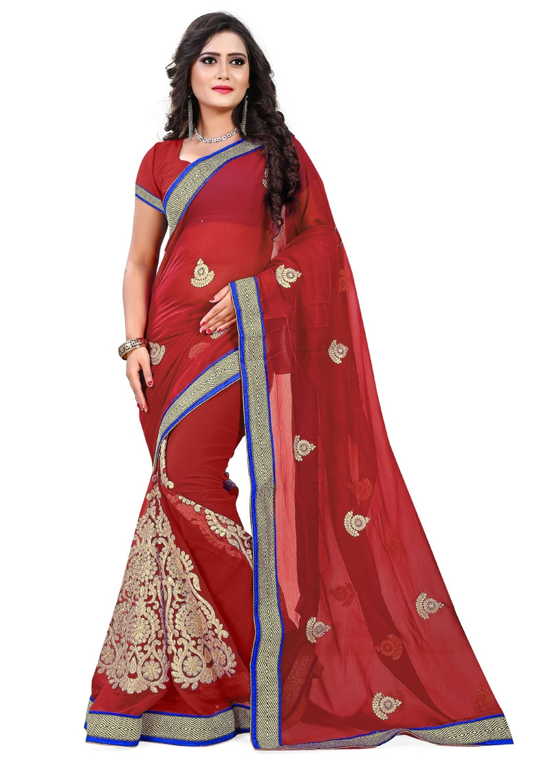 Sorcerous Lace And Booti Work Party Wear Saree