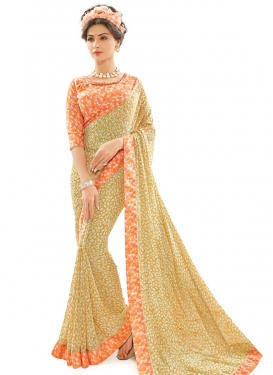 Sorcerous Lace Work Beige and Cream Trendy Classic Saree