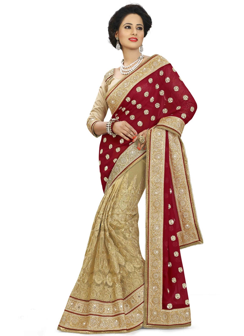 Sorcerous Lace Work Pure Georgette Half N Half Wedding Saree