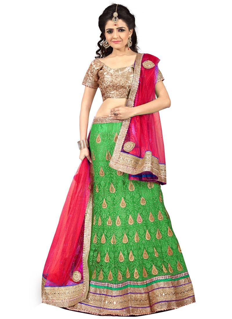 Sorcerous Mint Green Color Net Wedding Lehenga Choli