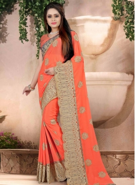 Sorcerous Orange Trendy Designer Saree