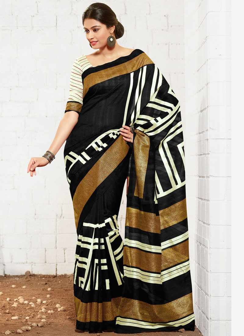 Sorcerous Printed Black Color Casual Saree