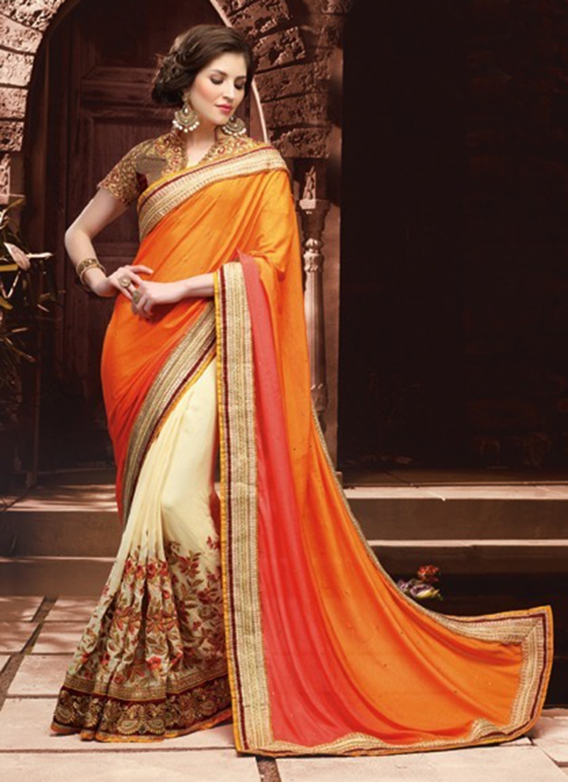 Sorcerous Pure Georgette Half N Half Wedding Saree