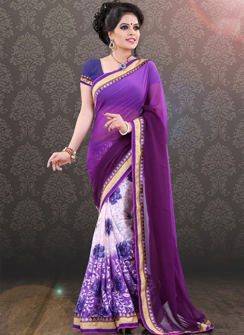 Sorcerous Purple Color Half N Half Party Wear Saree