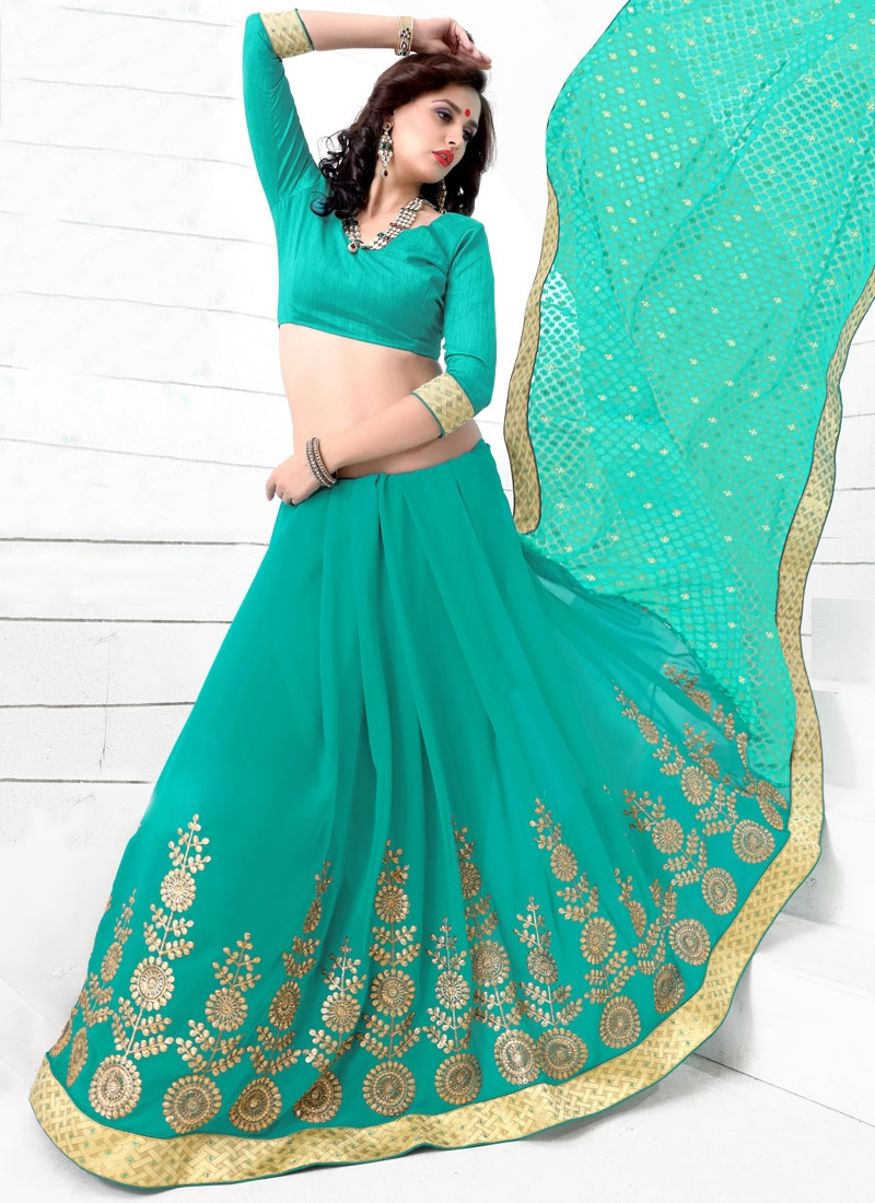 Sorcerous Resham Work Aqua Blue Color Party Wear Saree