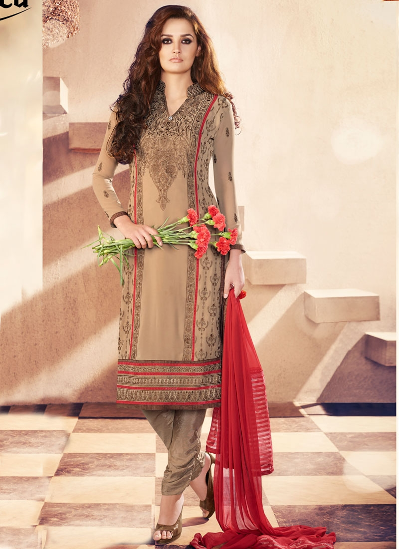 Sorcerous Resham Work Faux Georgette Churidar Salwar Kameez