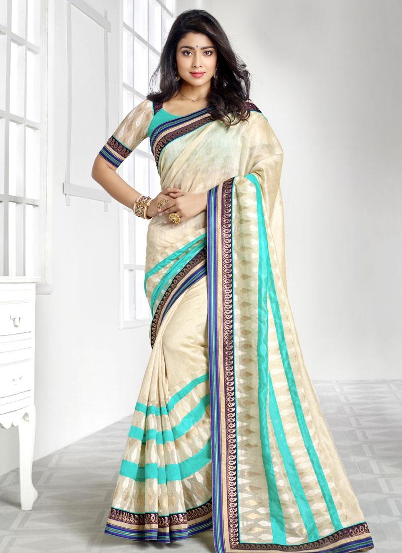 Sorcerous Resham Work Shriya Saran Party Wear Saree