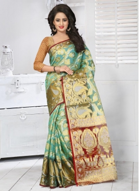 Sorcerous Resham Work Tissue Aqua Blue and Red Classic Saree For Ceremonial