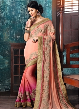 Sorcerous  Rose Pink and Salmon Half N Half Designer Saree For Ceremonial