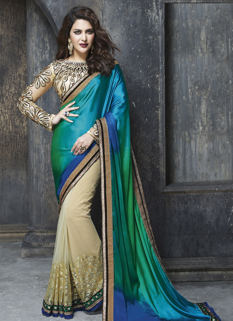 Sorcerous Satin And Net Half N Half Designer Saree