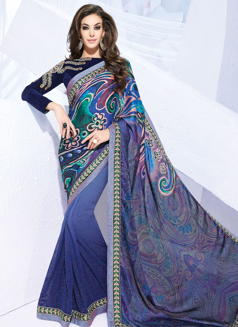 Sorcerous Silk Georgette Half N Half Party Wear Saree