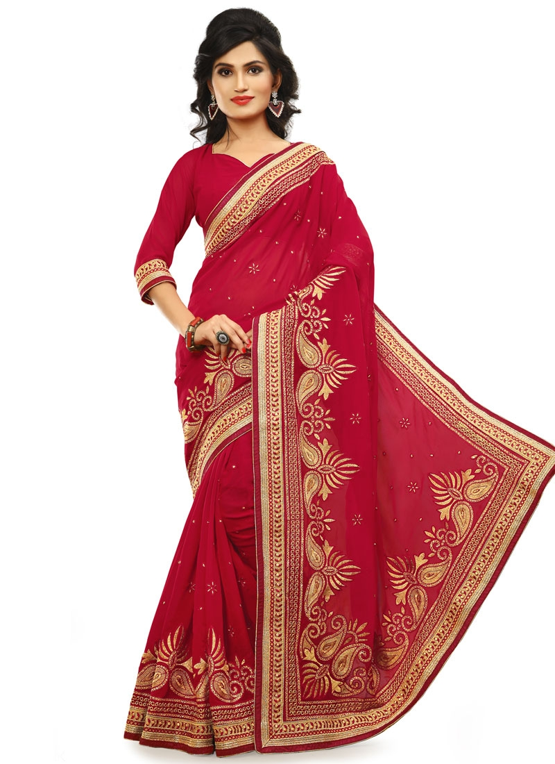 Sorcerous Stone And Resham Work Party Wear Saree