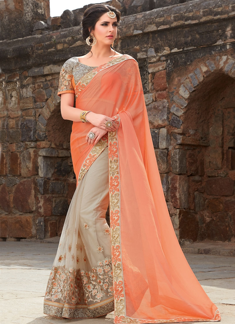 Sorcerous Stone Work Net Half N Half Wedding Saree