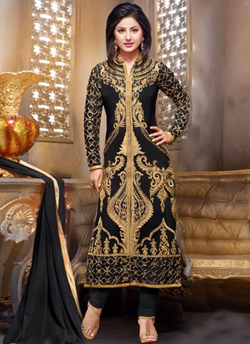 Sparkling Black Color Hina Khan Party Wear Suit