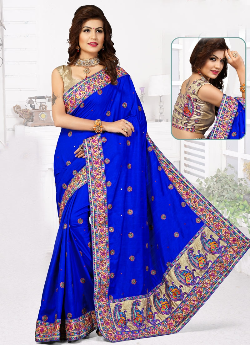 Sparkling Blue Color Manipuri Silk Wedding Saree